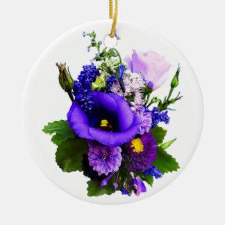Purple Bouquet With Lilies And Delphinium Ceramic Ornament