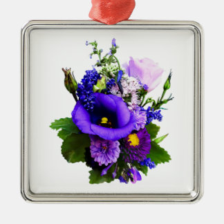 Purple Bouquet With Lilies And Delphinium Metal Ornament