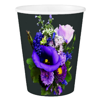 Purple Bouquet With Lilies And Delphinium Paper Cup