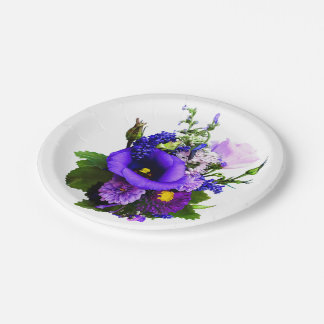 Purple Bouquet With Lilies And Delphinium Paper Plate