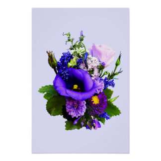 Purple Bouquet With Lilies And Delphinium Poster