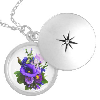 Purple Bouquet With Lilies And Delphinium Silver Plated Necklace