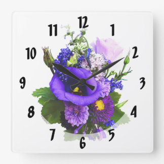 Purple Bouquet With Lilies And Delphinium Square Wall Clock