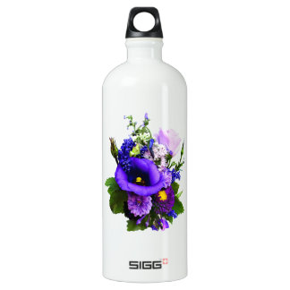 Purple Bouquet With Lilies And Delphinium Water Bottle