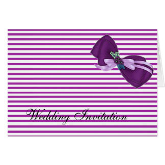 PURPLE BOW AND  STRIPES WEDDING INVITATION CARD