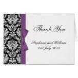 Purple Bow Damask Wedding Thank You Cards