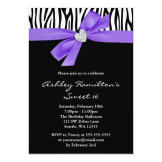 "Purple Bow Diamond Heart Zebra Sweet 16 5"" X 7"" Invitation Card"