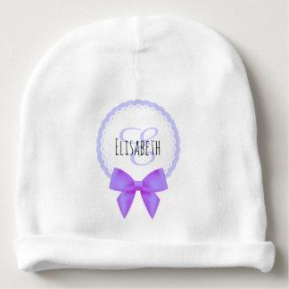 Purple bow lace monogram name baby girl beanie baby beanie