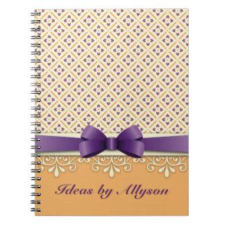 Purple Bow Lotus Kimono Ornamental Orange Diamond Notebook