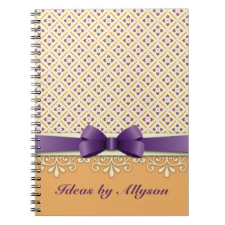 Purple Bow Lotus Kimono Ornamental Orange Diamond Notebooks