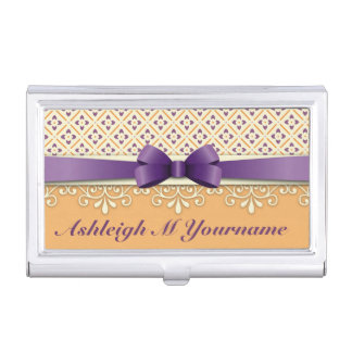 Purple Bow Lotus Yellow Flourish Orange Diamond Business Card Holder
