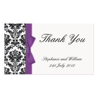 Purple Bow with Damask Thank You Cards Business Card