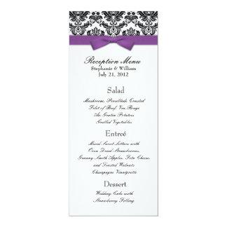 "Purple Bow with Damask Wedding Reception Menu 4"" X 9.25"" Invitation Card"