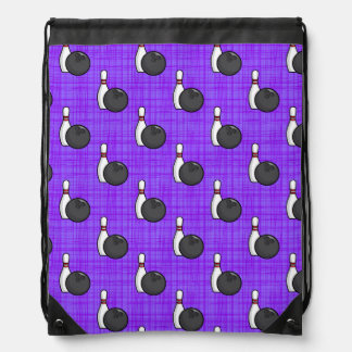 Purple Bowling Ball Pattern Drawstring Bag