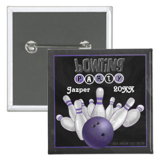 Purple Bowling Party 2 Inch Square Button