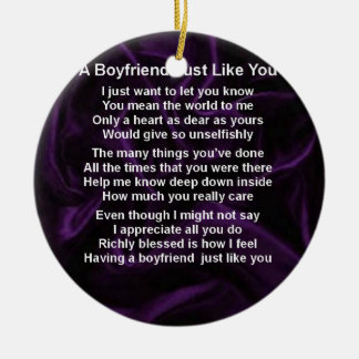 Purple -  Boyfriend Poem Ceramic Ornament