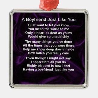 Purple -  Boyfriend Poem Metal Ornament