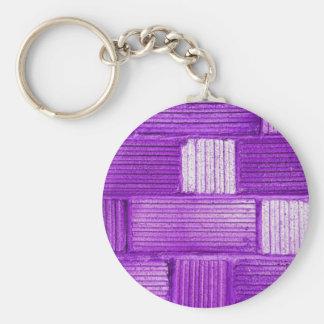 Purple Bricks Basic Round Button Keychain
