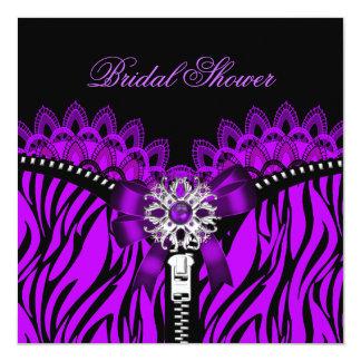 Purple Bridal Shower Black Lace Corset Card