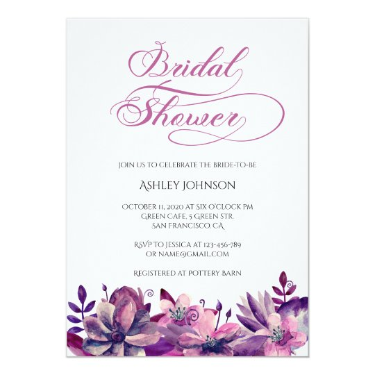 Purple bridal shower invitation Flower bride party