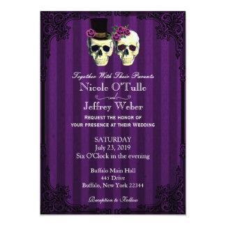 Purple Bride Groom Skulls Wedding Invitation