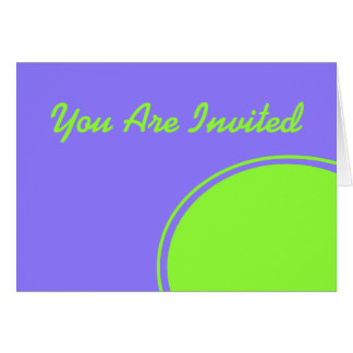 purple bright green mod party invite card