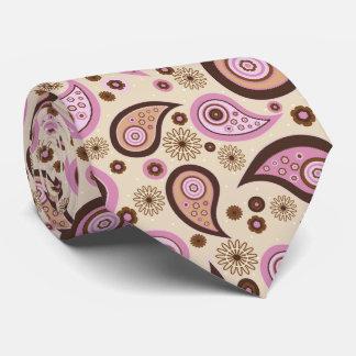 Purple brown beige elegant vintage paisley pattern tie