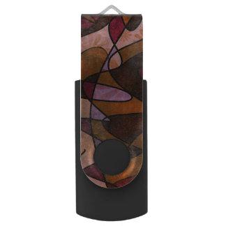 Purple, Brown, Burgundy Abstract Art, 5a USB Flash Drive