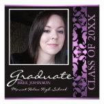 Purple & Brown Damask Graduation Announcement