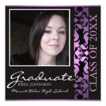 "Purple & Brown Damask Graduation Announcement 5.25"" Square Invitation Card"
