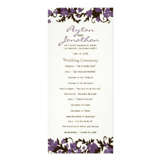 Purple Brown Summer Leaves Wedding Programs