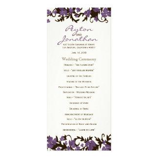 Purple Brown Summer Leaves Wedding Programs Full Color Rack Card