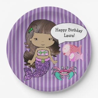 Purple Brunette  Mermaid Birthday Party Plates 9 Inch Paper Plate