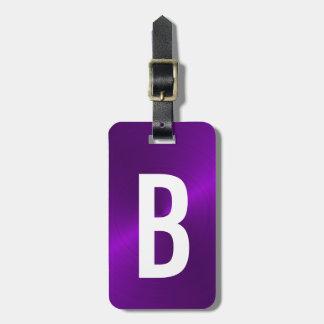 Purple Brushed Metallic Monogram Initial Luggage Tag