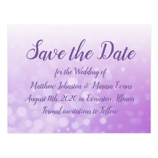 Purple Bubbles Personalized Save the Date Postcard