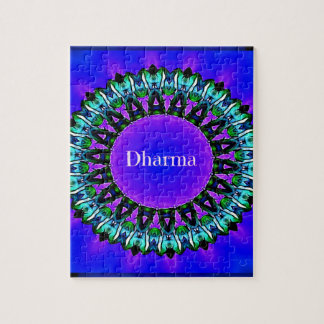 Purple Buddha Truths Darma Mandala Pattern Jigsaw Puzzle