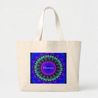 Purple Buddha Truths Darma Mandala Pattern Large Tote Bag