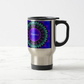 Purple Buddha Truths Darma Mandala Pattern Travel Mug