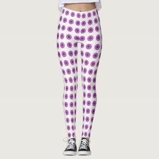 Purple Bullseye Target Polka Dot Round Circles Leggings