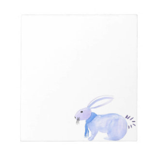 Purple Bunny In A Blue Scarf Notepad