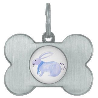 Purple Bunny In A Blue Scarf Pet Name Tag