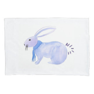 Purple Bunny In A Blue Scarf Pillow Case