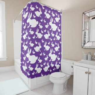 Purple Bunny Shower Curtain