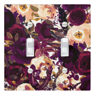 Purple Burgundy Boho Floral Fall Farmhouse Chic Light Switch Cover