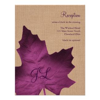 Purple Burlap Monogrammed Reception Card