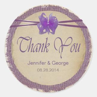 Purple Burlap Wedding Thank You PBSF Classic Round Sticker