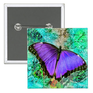 Purple Butterflies 2 Inch Square Button