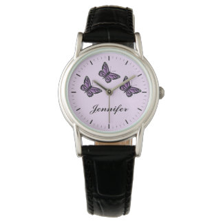 Purple Butterflies And Custom Name Watch
