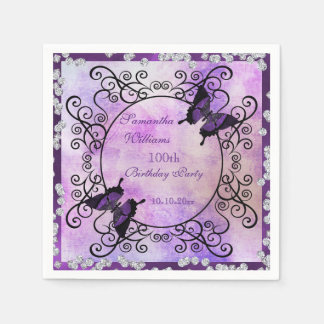Purple Butterflies & Diamonds 100th Birthday Disposable Napkin