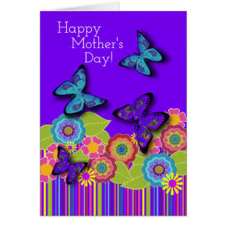 Purple Butterflies   Floral Beauty   Mother's Day Card